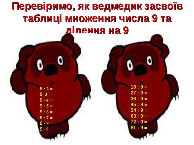 Перевіримо, як ведмедик засвоїв таблиці множення числа 9 та ділення на 9 9 · ...