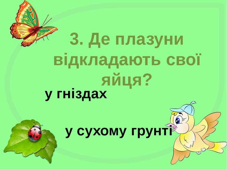 3. Де плазуни відкладають свої яйця? у гніздах у сухому грунті