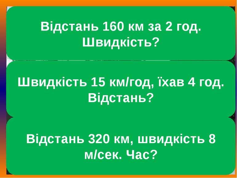 Відстань 160 км за 2 год. Швидкість? Відстань 320 км, швидкість 8 м/сек. Час?...