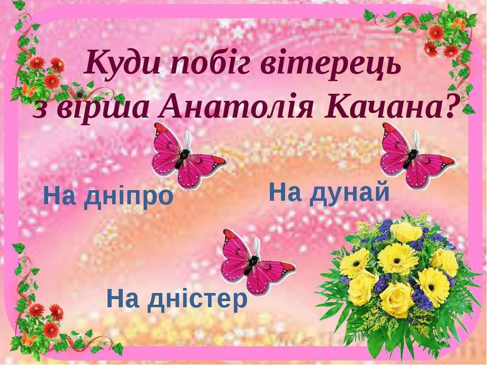 Куди побіг вітерець з вірша Анатолія Качана? На дніпро На дністер На дунай