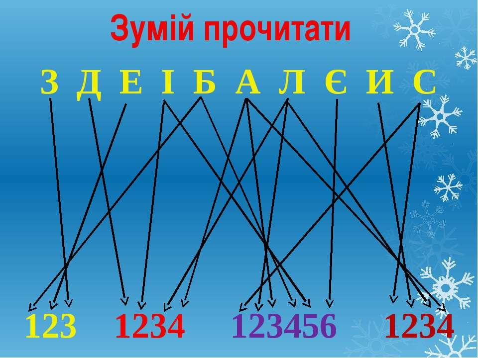 Зумій прочитати З Д Е І Б А Л Є И С 123 1234 123456 1234