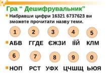 """Гра """" Дешифрувальник"""" Набравши цифри 16321 6737623 ви зможете прочитати назву..."""