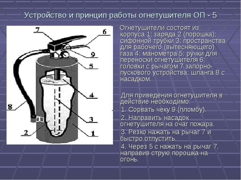 Устройство и принцип работы огнетушителя ОП - 5 Огнетушители состоят из: корп...