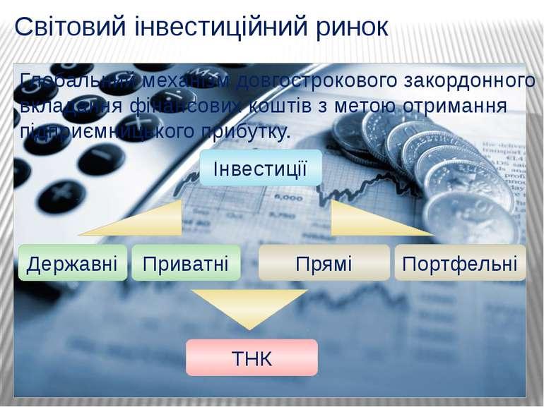 Світовий інвестиційний ринок Глобальний механізм довгострокового закордонного...