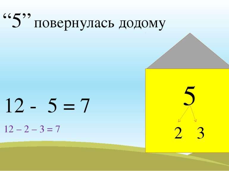 """""""5"""" повернулась додому 12 - 5 = 7 12 – 2 – 3 = 7 5 2 3"""