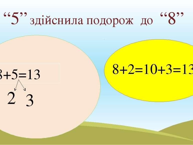 """""""5"""" здійснила подорож до """"8"""" 3 2 8+5=13 8+2=10+3=13"""