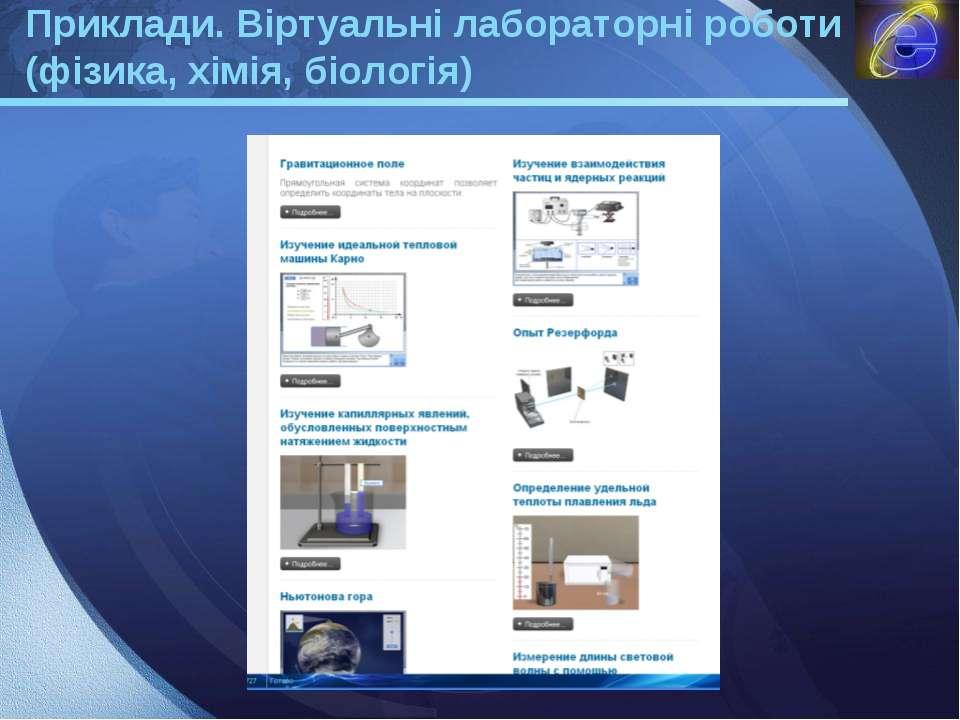Приклади. Віртуальні лабораторні роботи (фізика, хімія, біологія) LOGO