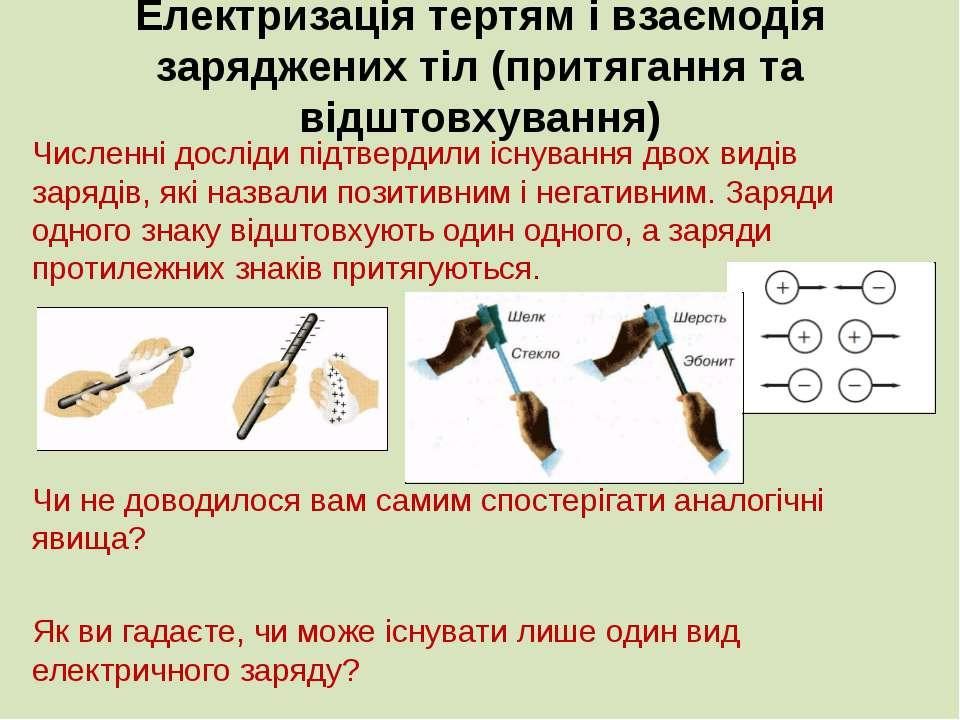 Електризація тертям і взаємодія заряджених тіл (притягання та відштовхування)...