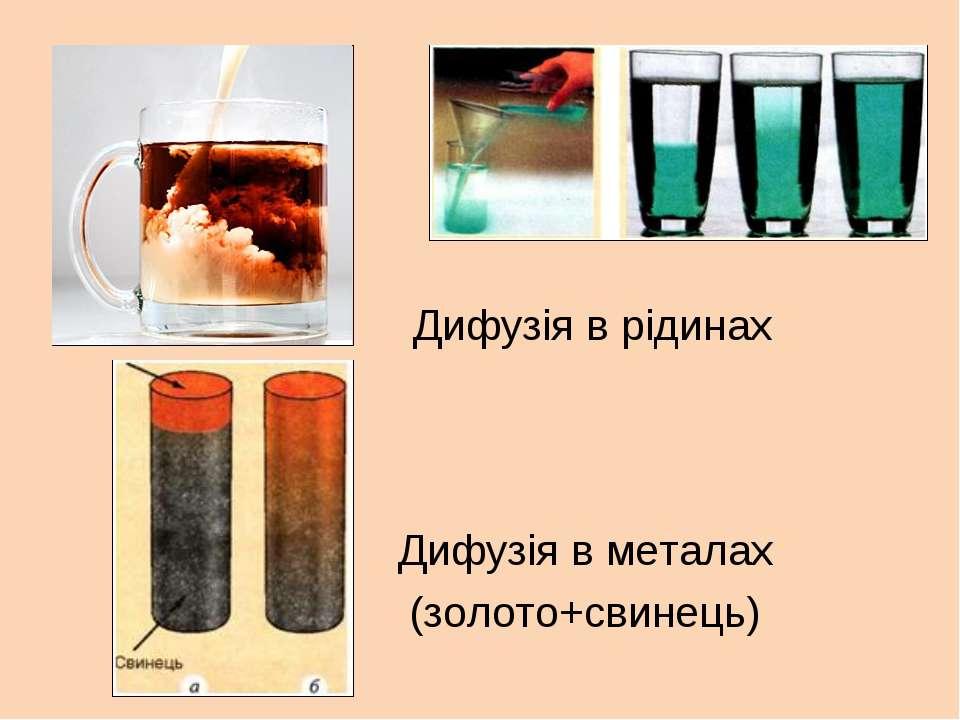 Дифузія в металах (золото+свинець) Дифузія в рідинах