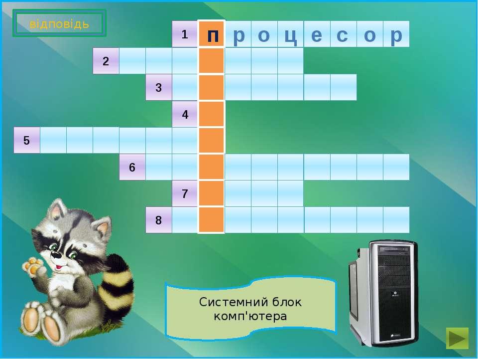 Системний блок комп'ютера 8 2 3 4 5 6 7 1 відповідь п р о ц е с о р