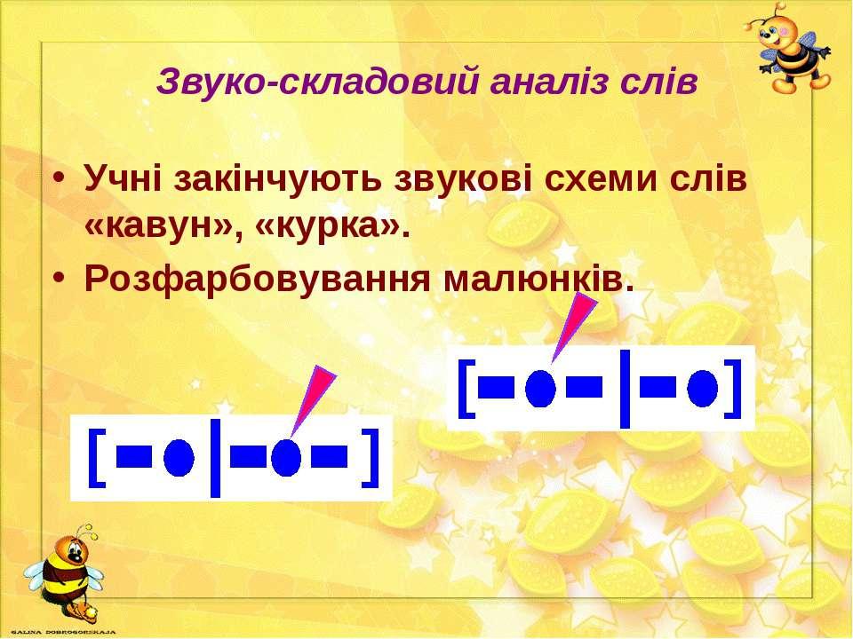 Звуко-складовий аналіз слів Учні закінчують звукові схеми слів «кавун», «курк...