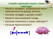 Складо-звуковий аналіз слова «айстра» Назвіть предмет, зображення якого залиш...