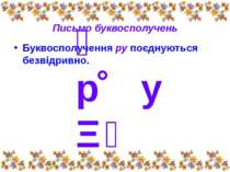 Письмо буквосполучень Буквосполучення ру поєднуються безвідривно. р у