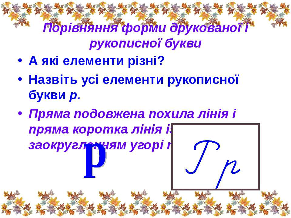 Порівняння форми друкованої і рукописної букви А які елементи різні? Назвіть ...