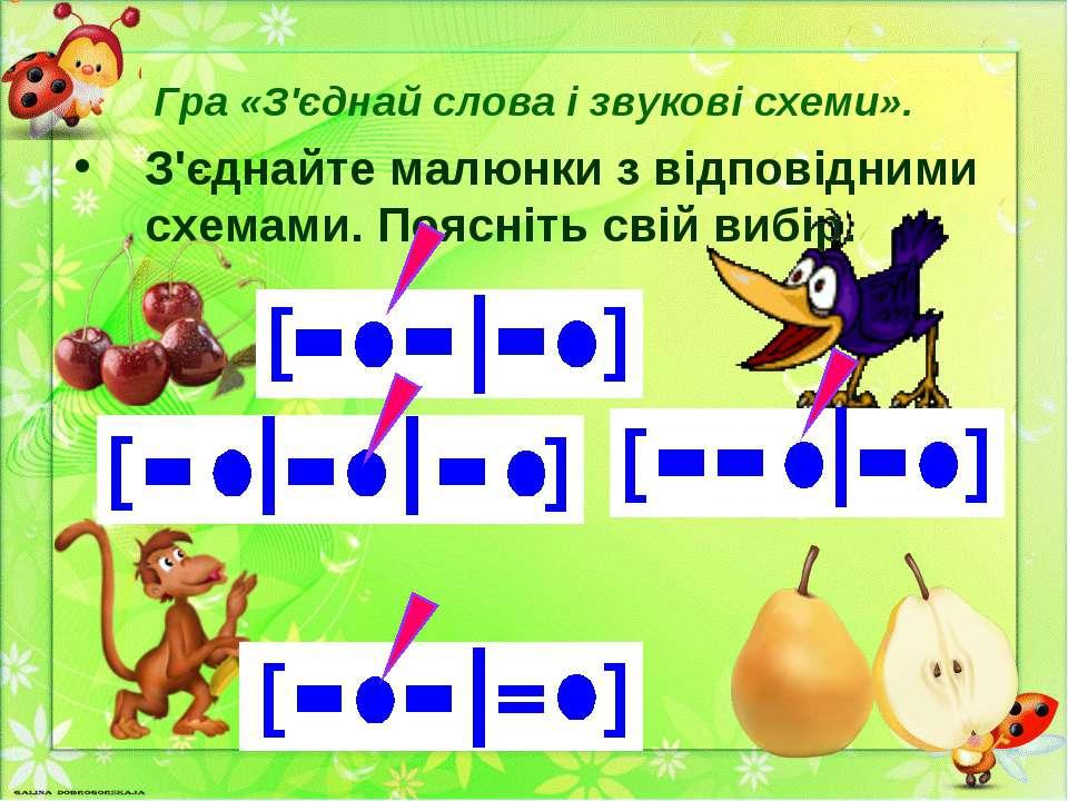 Гра «З'єднай слова і звукові схеми». З'єднайте малюнки з відповідними схемами...