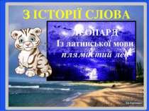 ЛЕОПАРД Із латинської мови плямистий лев З ІСТОРІЇ СЛОВА
