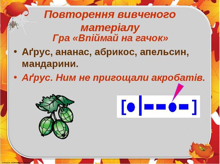 Повторення вивченого матеріалу Гра «Впіймай на гачок» Аґрус, ананас, абрикос,...