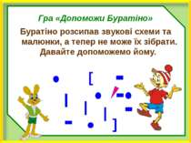Гра «Допоможи Буратіно» Буратіно розсипав звукові схеми та малюнки, а тепер н...