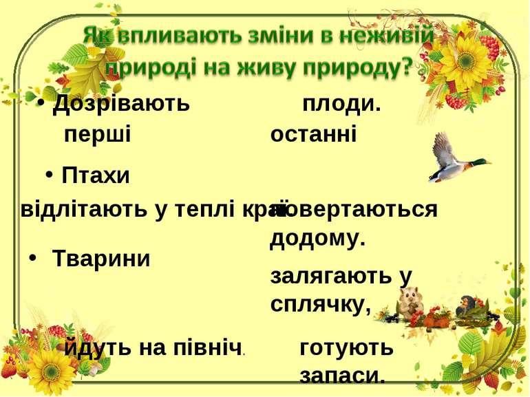Дозрівають плоди. перші останні Птахи відлітають у теплі краї. повертаються д...
