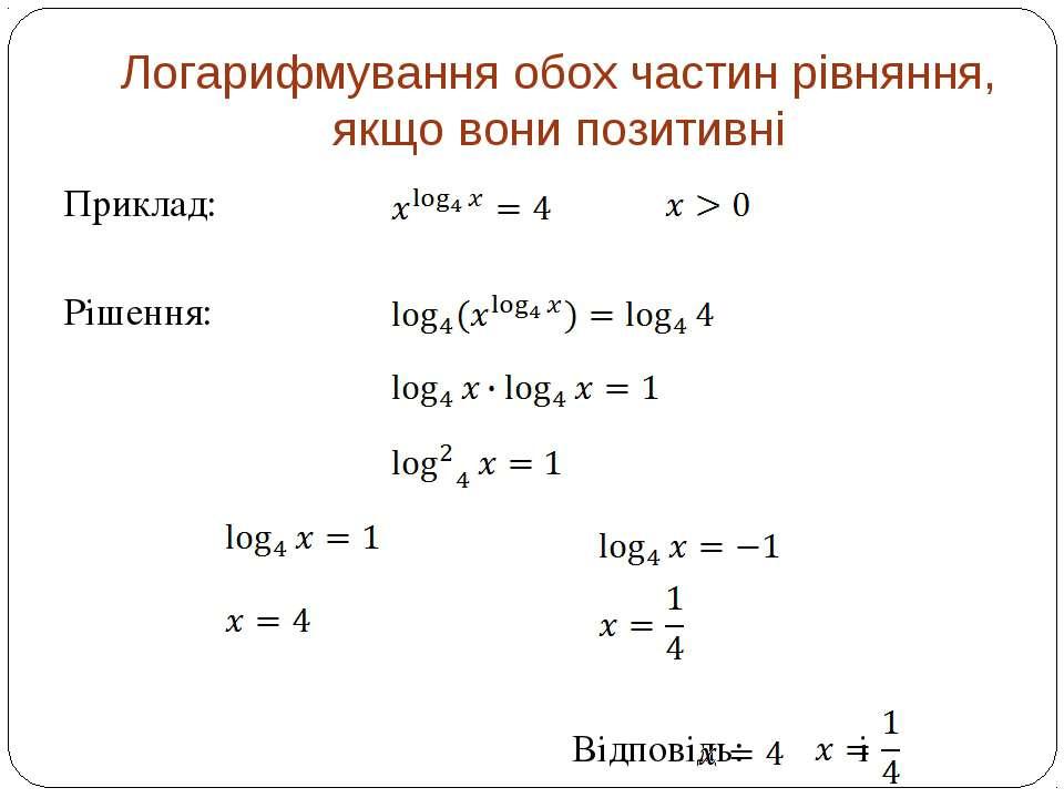 Логарифмування обох частин рівняння, якщо вони позитивні Приклад: Рішення: Ві...