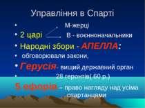 Управління в Спарті М-жерці 2 царі В - воєнноначальники Народні збори - АПЕЛЛ...