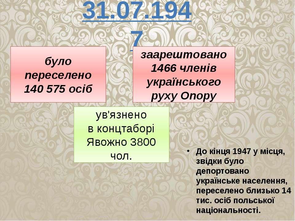 31.07.1947 було переселено 140 575 осіб заарештовано 1466 членів українського...
