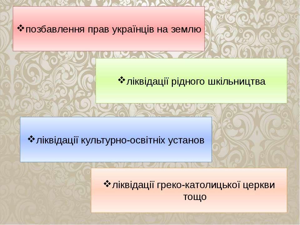позбавлення прав українців на землю ліквідації рідного шкільництва ліквідації...