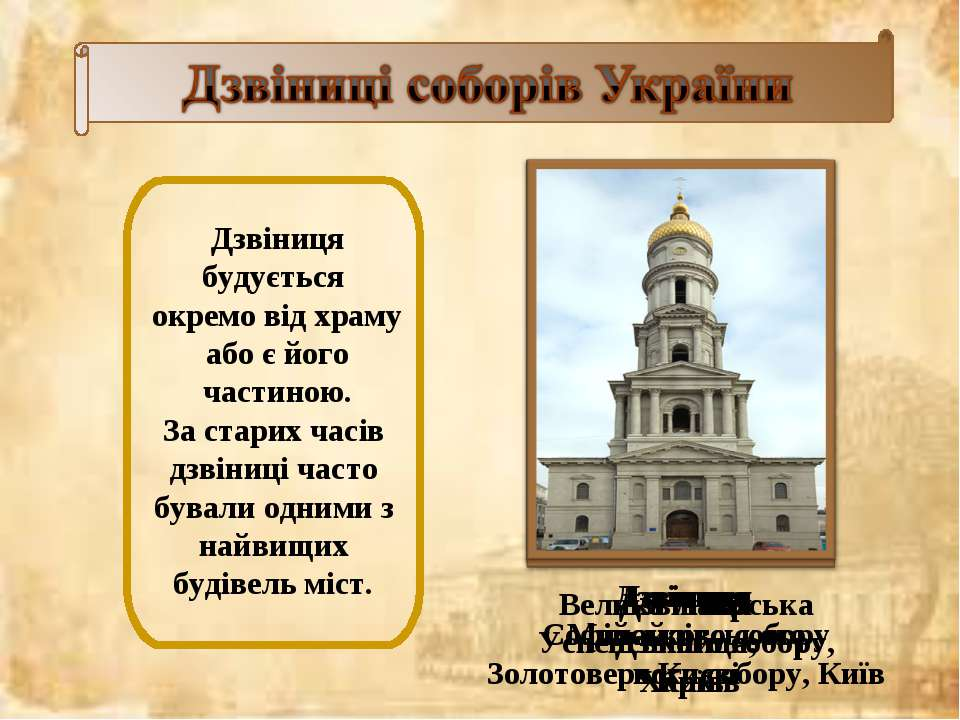 Дзвіниця будується окремо від храму або є його частиною. За старих часів дзві...