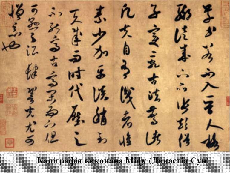 Каліграфія виконана Міфу (Династія Сун)