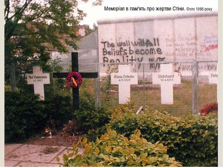 Меморіал в пам'ять про жертви Стіни. Фото 1986 року