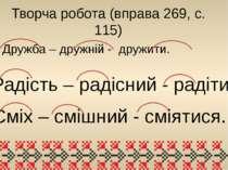 Творча робота (вправа 269, с. 115) Дружба – дружній - дружити. Радість – раді...