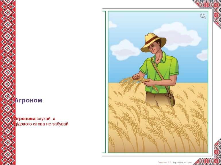 Агроном Агрономаслухай, а дідового слова не забувай  Левитина Л.С. http://...