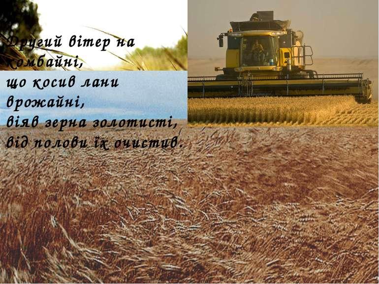 Другий вітер на комбайні, що косив лани врожайні, віяв зерна золотисті, від п...