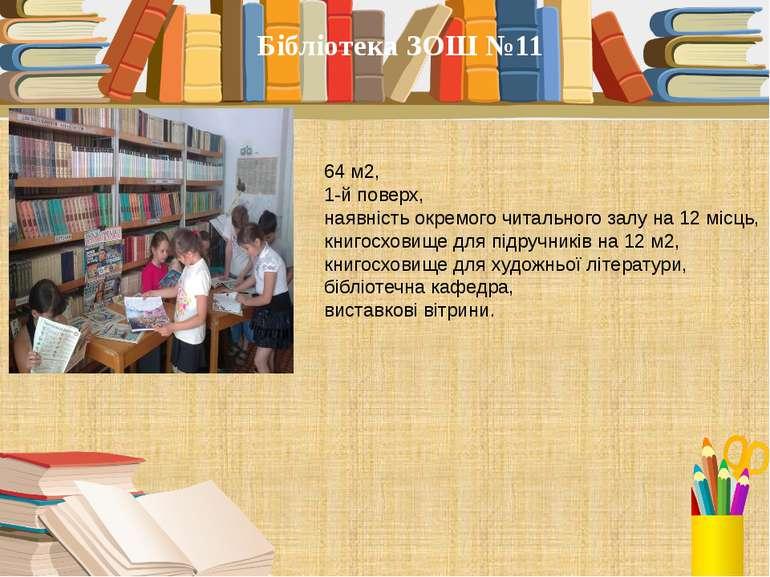 64 м2, 1-й поверх, наявність окремого читального залу на 12 місць, книгосхови...