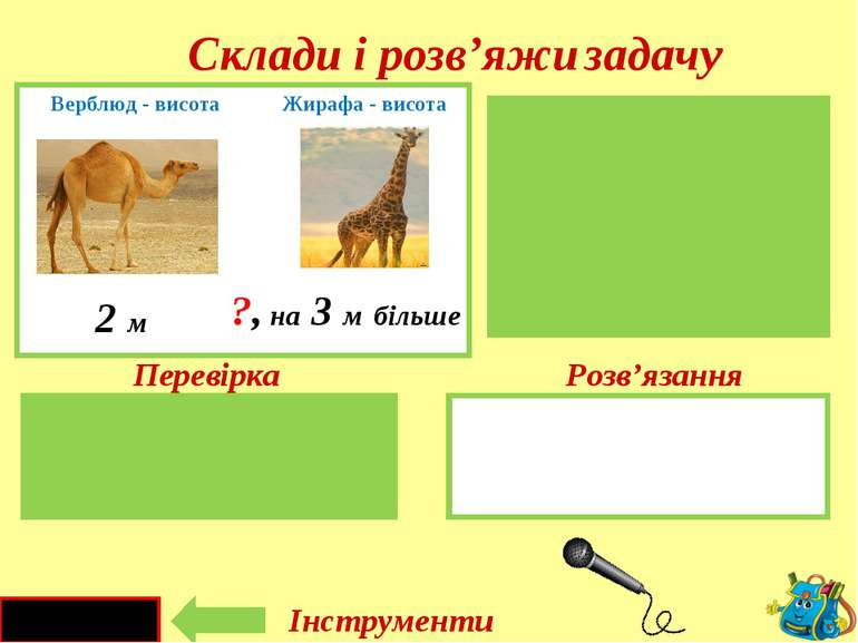 2 + 3 = 5 ( м ) Верблюд – 2м Жирафа-?, на 3м більше 2 м на 3 м більше ?, Верб...