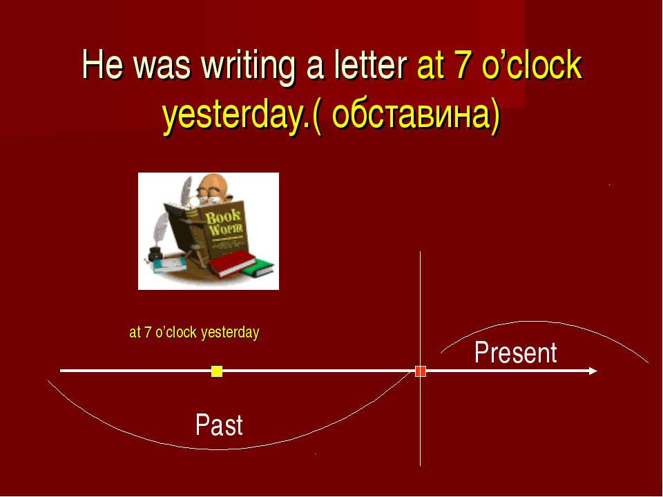He was writing a letter at 7 o'clock yesterday.( обставинa) at 7 o'clock yest...