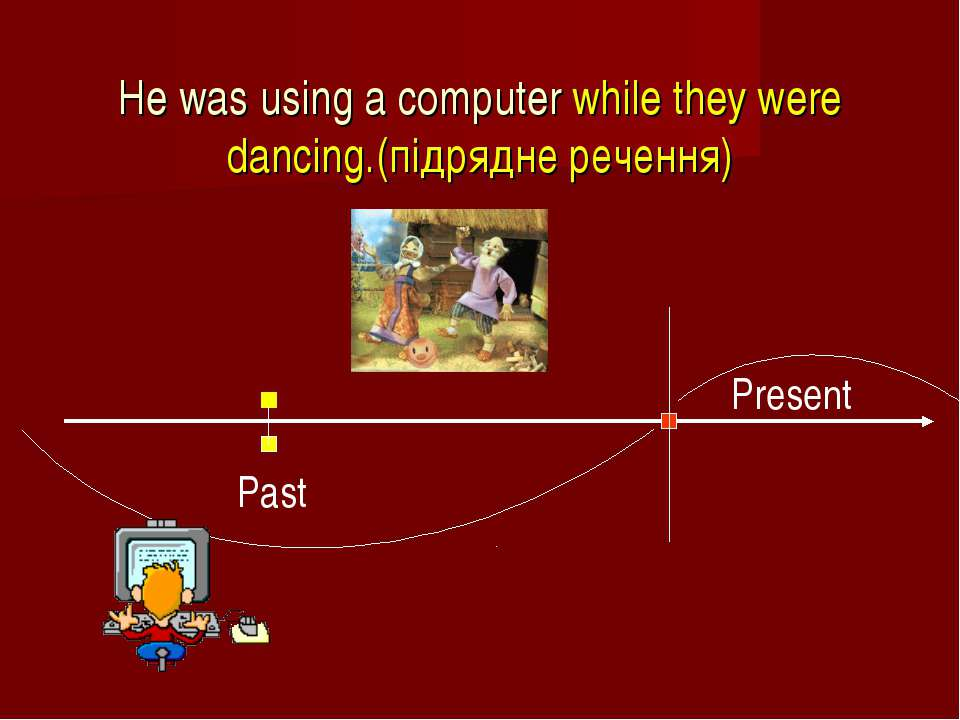 He was using a computer while they were dancing.(підрядне речення) Past Present