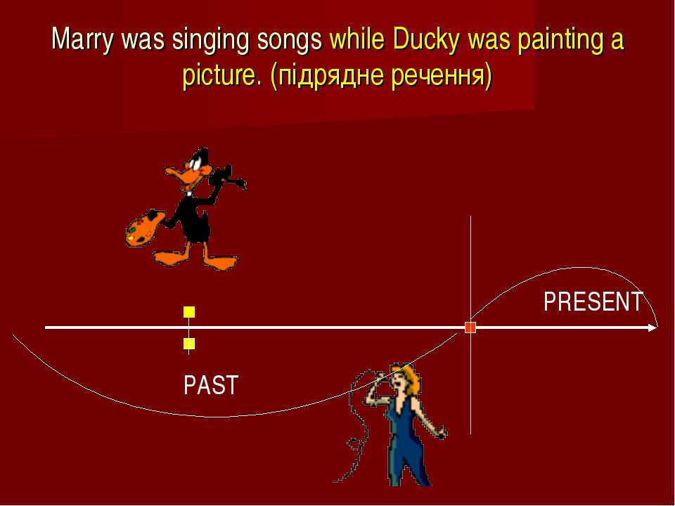 Marry was singing songs while Ducky was painting a picture. (підрядне речення)
