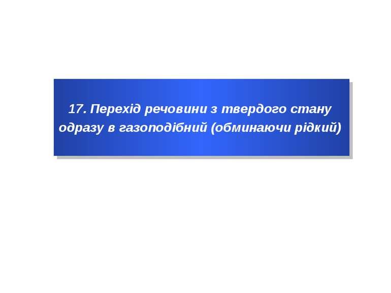 17. Перехід речовини з твердого стану одразу в газоподібний (обминаючи рідкий)