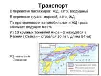 Транспорт В перевозке пассажиров: ЖД, авто, воздушный В перевозке грузов: мор...