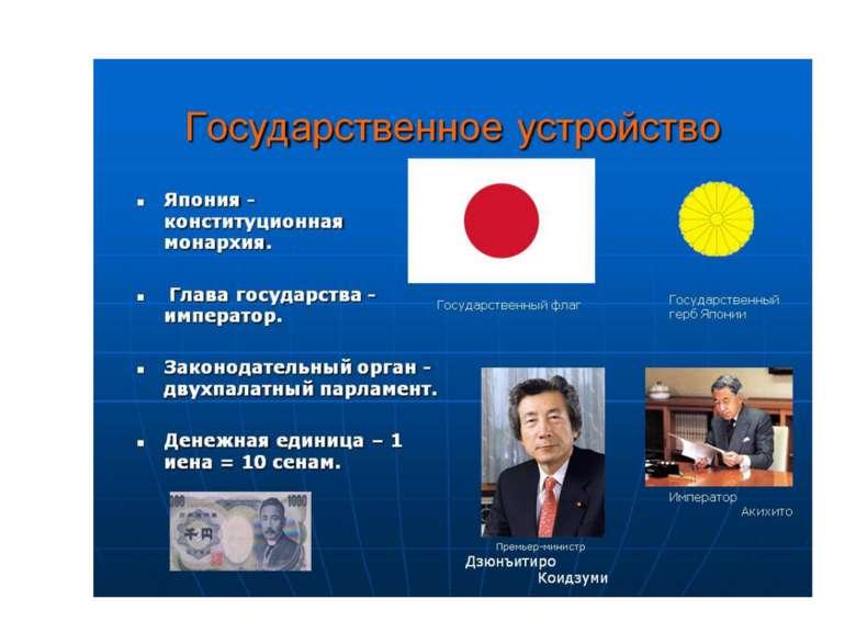 Площадь – 377 тыс. км 2 (60 место в мире) Япония— конституционная монархия