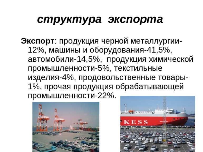 структура экспорта Экспорт: продукция черной металлургии-12%, машины и оборуд...