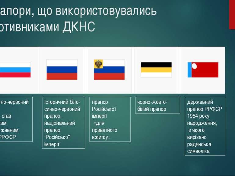 Прапори, що використовувались противниками ДКНС біло-блакитно-червоний прапор...