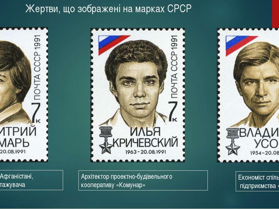Жертви, що зображені на марках СРСР Архітектор проектно-будівельного кооперат...
