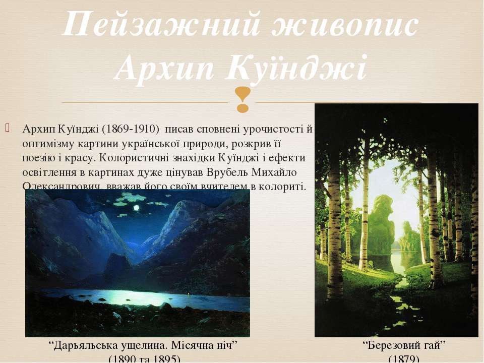 Архип Куїнджі (1869-1910) писав сповнені урочистості й оптимізму картини укра...