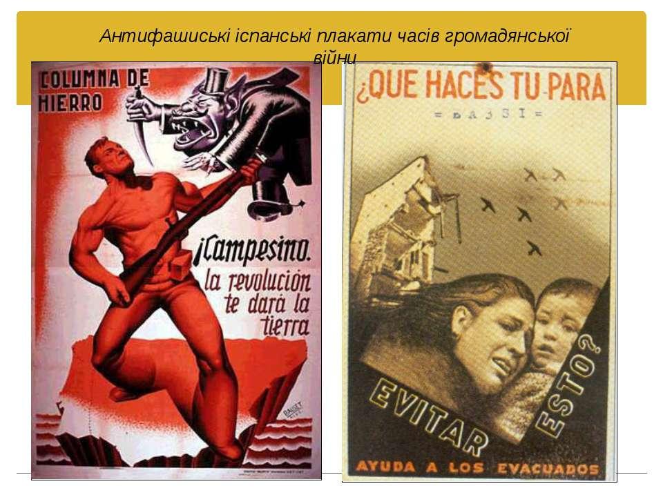 Антифашиські іспанські плакати часів громадянської війни