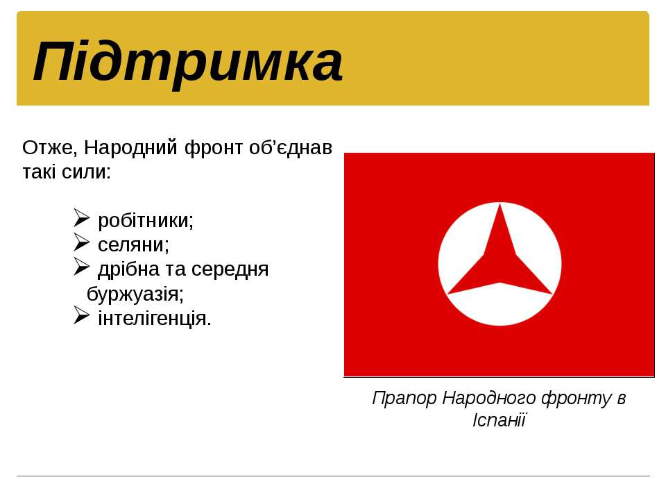 Отже, Народний фронт об'єднав такі сили: робітники; селяни; дрібна та середня...