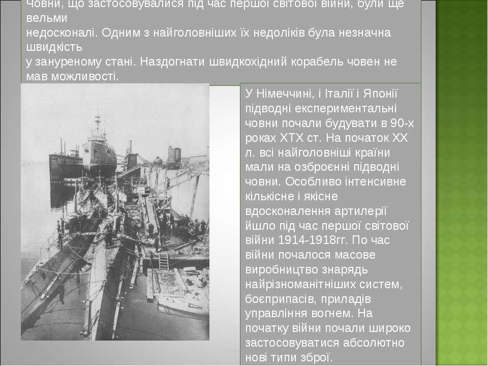 Човни, що застосовувалися під час першої світової війни, були ще вельми недос...