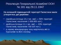 Резолюція Генеральної Асамблеї ООН № 181 від 29.11.1947 На колишній підмандат...