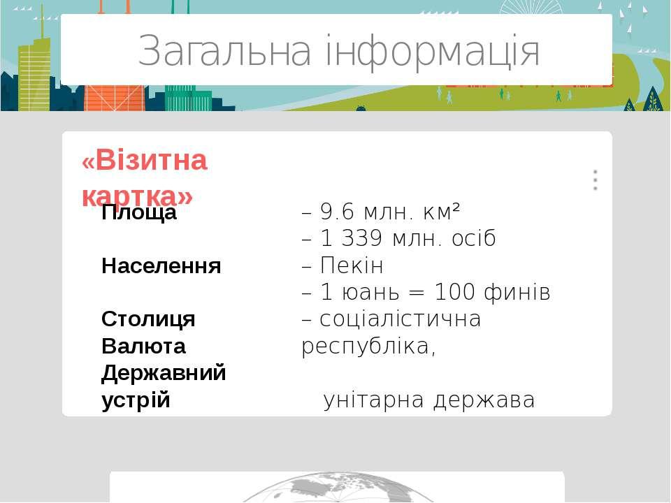 Загальна інформація – 9.6 млн. км² – 1 339 млн. осіб – Пекін – 1 юань = 100 ф...